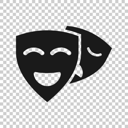 Theater mask icon in flat style. Comedy and tragedy vector illustration on white isolated background. Smile face business concept.