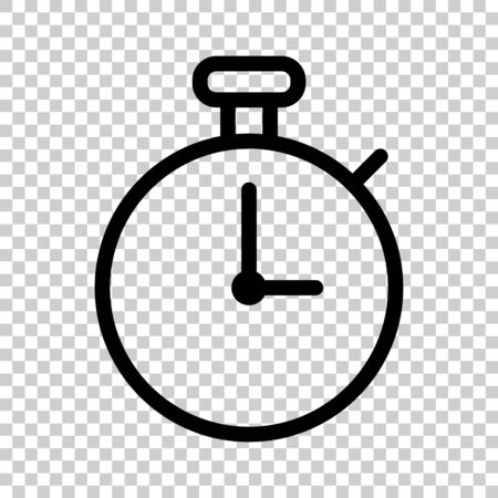 Clock icon in flat style. Watch vector illustration on white isolated background. Timer business concept. Ilustración de vector
