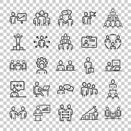Business communication contour icon set in flat style. Team structure line vector illustration on white isolated background. Office teamwork linear stroke business concept.
