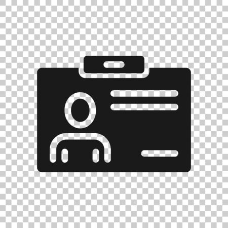 Id card icon in flat style. Identity tag vector illustration on white isolated background. Driver license business concept.