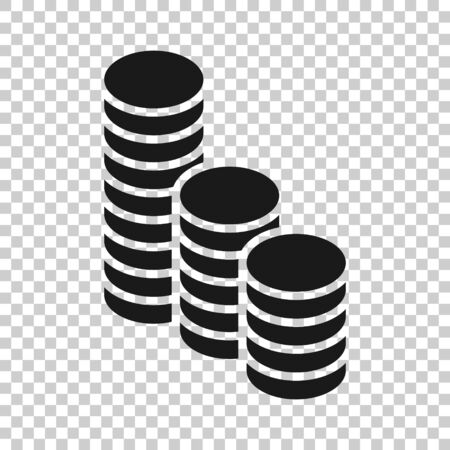 Coins stack icon in flat style. Dollar coin illustration on white isolated background. Money stacked business concept.