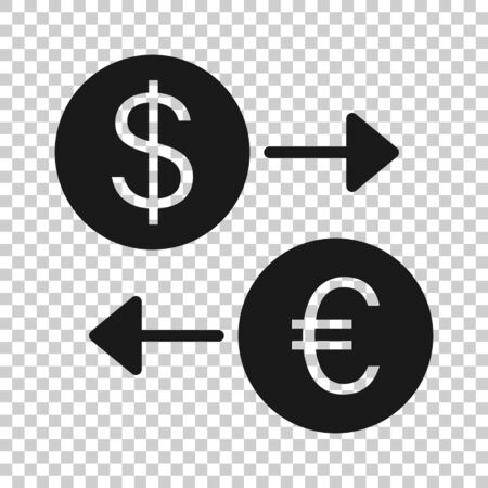 Currency exchange icon in flat style. Dollar euro transfer illustration on white isolated background. Financial process business concept.