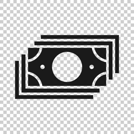 Money stack icon in flat style. Exchange cash illustration on white isolated background. Banknote bill business concept.