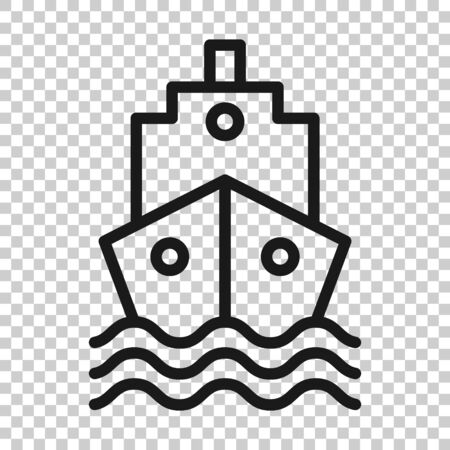 Tourism ship icon in flat style. Fishing boat illustration on white isolated background. Tanker destination business concept. Ilustrace