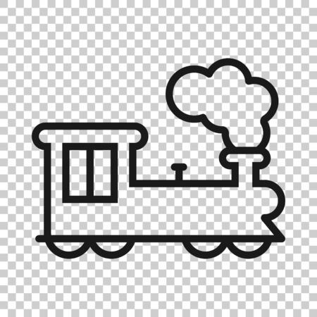 Metro icon in flat style. Train subway illustration on white isolated background. Railroad cargo business concept.