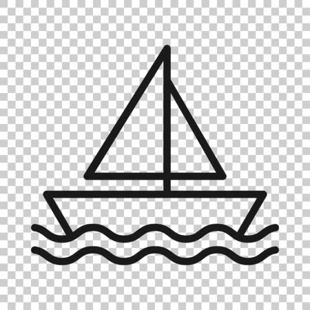 Tourism ship icon in flat style. Fishing boat vector illustration on white isolated background. Tanker destination business concept. Ilustração