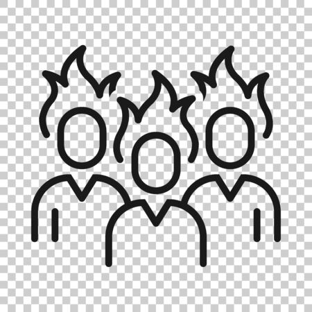 People with flame head icon in flat style. Stress expression vector illustration on white isolated background. Health problem business concept. 向量圖像