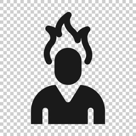 People with flame head icon in flat style. Stress expression vector illustration on white isolated background. Health problem business concept. Illustration