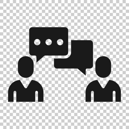 People with speech bubble icon in flat style. Chat vector illustration on white isolated background. Speaker dialog business concept.