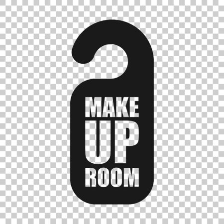 Make up room hotel sign icon in flat style. Inn vector illustration on white isolated background. Hostel clean business concept.