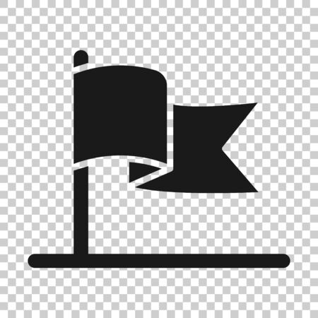 Flag icon in flat style. Pin vector illustration on white isolated background. Flagpole business concept.  イラスト・ベクター素材