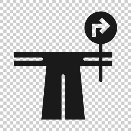 Crossroad icon in flat style. Road direction navigation vector illustration on white isolated background. Locate pin position business concept. 向量圖像