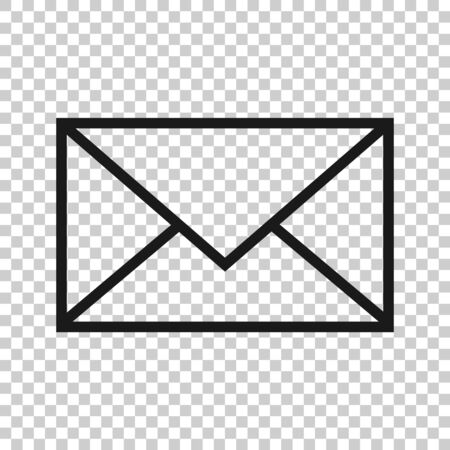 Email message icon in flat style. Mail document vector illustration on white isolated background. Message correspondence business concept.