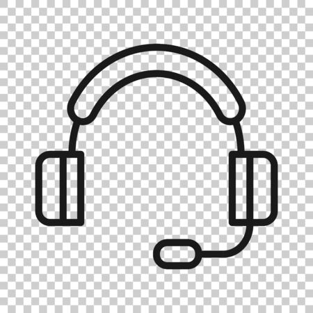 Help desk icon in flat style. Headphone vector illustration on white isolated background. Chat operator business concept.  イラスト・ベクター素材