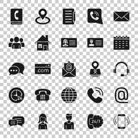 Contact icon set in flat style. Phone communication vector illustration on white isolated background. Website equipment business concept. 向量圖像
