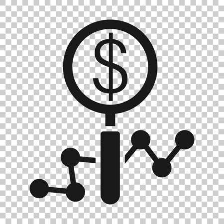 Magnifier glass with money icon in flat style. Dollar search vector illustration on white isolated background. Financial currency business concept.