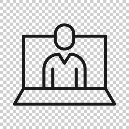 People with laptop computer icon in flat style. Pc user vector illustration on white isolated background. Office manager business concept. 向量圖像