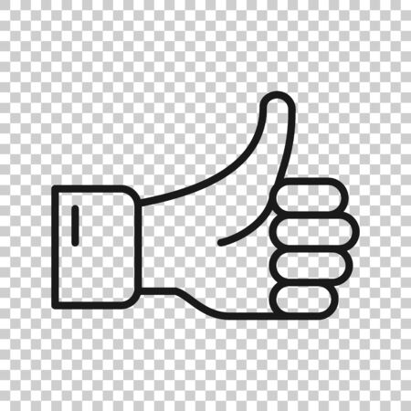 Thumb up icon in flat style. Like gesture vector illustration on white isolated background. Approval mark business concept. 向量圖像