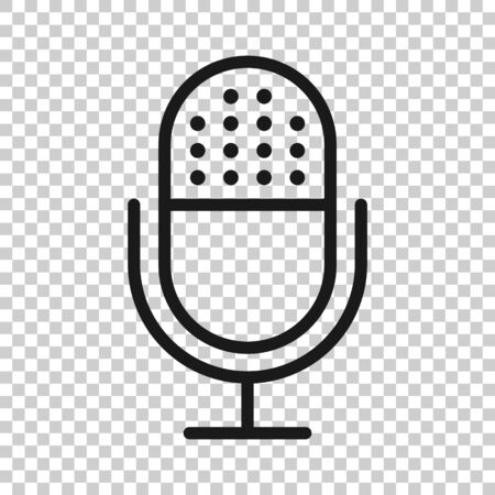 Microphone icon in flat style. Studio mike vector illustration on white isolated background. Audio record business concept.