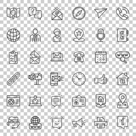 Contact us thin line icon set in flat style. Mobile communication vector illustration on white isolated background. Phone call business concept. 向量圖像