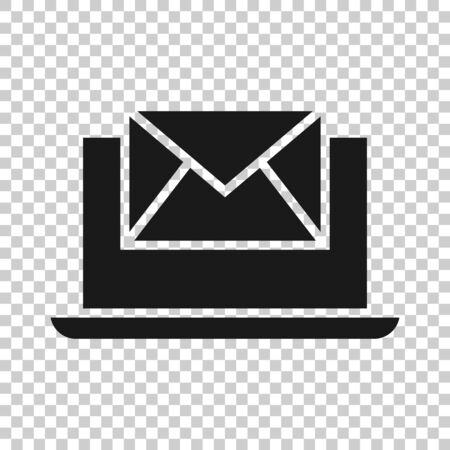 Laptop with email icon in flat style. Mail notification vector illustration on white isolated background. Envelope with message business concept.