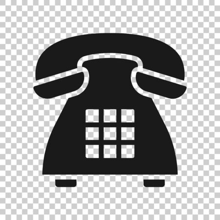 Mobile phone icon in flat style. Telephone talk vector illustration on white isolated background. Hotline contact business concept.