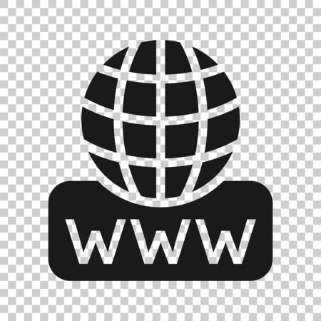 Global search icon in flat style. Website address vector illustration on white isolated background. WWW network business concept.