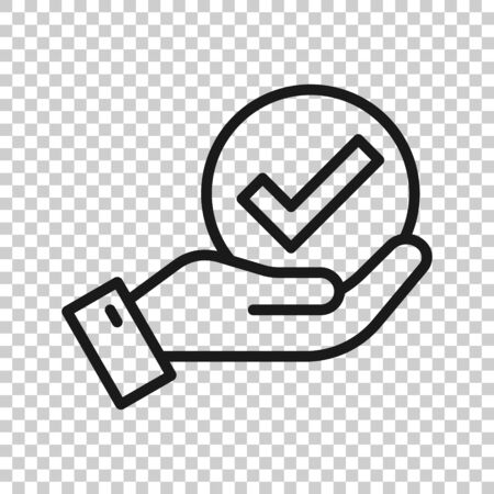 People hand with check mark icon in flat style. Accept vector illustration on white isolated background. Approval choice business concept.