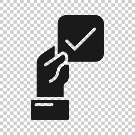People hand with check mark icon in flat style. Accept vector illustration on white isolated background. Approval choice business concept. Vetores
