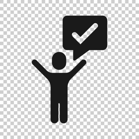 Organization management icon in flat style. People with check mark vector illustration on white isolated background. Businessman business concept.