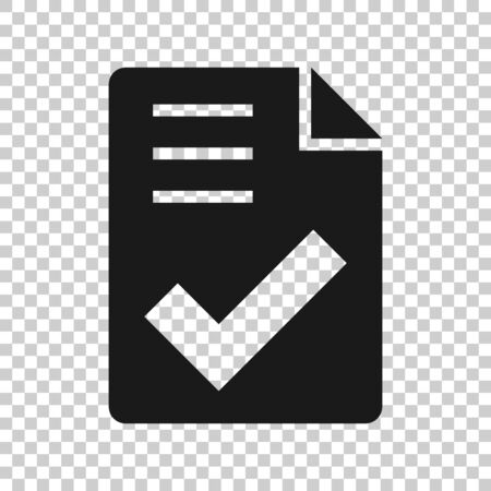 Document checklist icon in flat style. Report vector illustration on white isolated background. Paper sheet business concept.