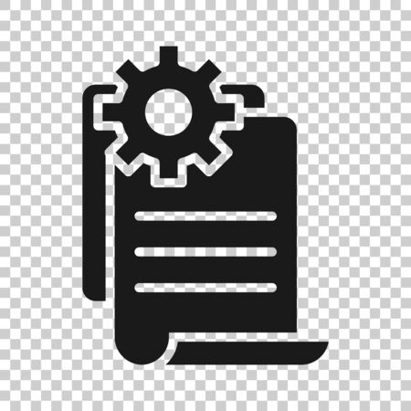 Document with gear icon in flat style. Big data processing vector illustration on white isolated background. Paper sheet software solution business concept. Illustration