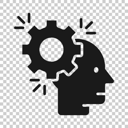 Human head with cogwheel icon in flat style. Technology progress vector illustration on white isolated background. Face and gear business concept.
