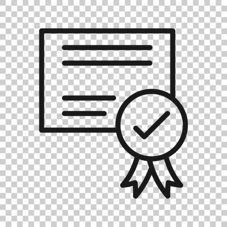 Approve certificate icon in flat style. Document check mark vector illustration on white isolated background. Approval choice business concept.