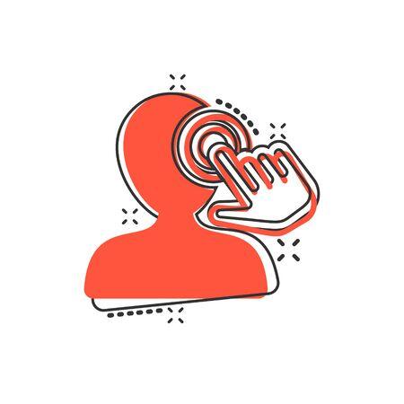 Icône de sensibilisation à l'esprit dans le style comique. Idée illustration vectorielle de dessin animé humain sur fond isolé. Concept d'entreprise d'effet d'éclaboussure de cerveau de client. Vecteurs