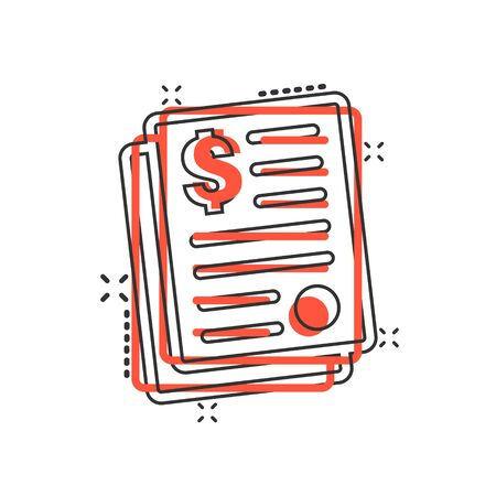 Financial statement icon in comic style. Document cartoon vector illustration on white isolated background. Report splash effect business concept.