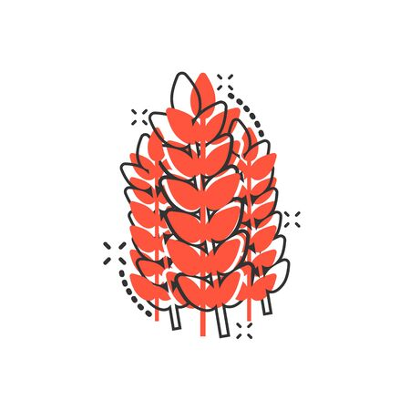 Wheat icon in comic style. Barley cartoon vector illustration on white isolated background. Harvest stem splash effect business concept. 矢量图像