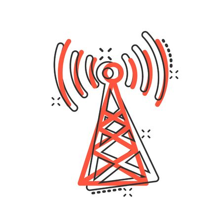 Antenna tower icon in comic style. Broadcasting cartoon vector illustration on white isolated background. Wifi splash effect business concept. Stock Illustratie