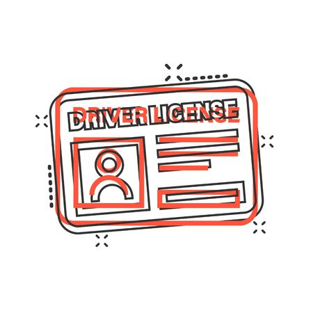 Driver license icon in comic style. Id card cartoon vector illustration on white isolated background. Identity splash effect business concept.