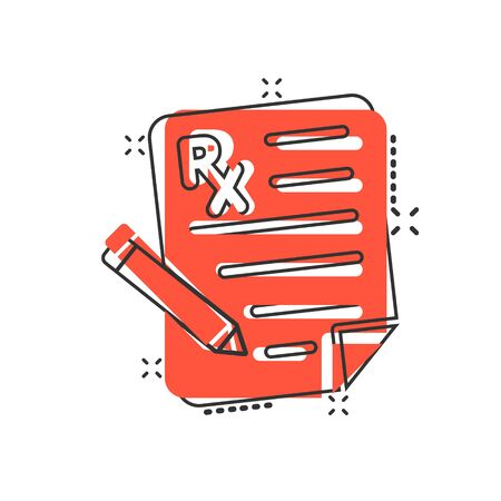 Prescription icon in comic style. Rx document cartoon vector illustration on white isolated background. Paper splash effect business concept.