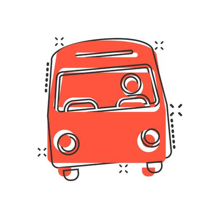 Bus icon in comic style. Coach cartoon vector illustration on white isolated background. Autobus vehicle splash effect business concept.