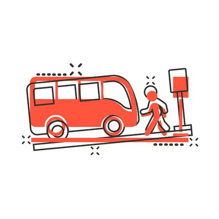 Bus station icon in comic style. Auto stop cartoon vector illustration on white isolated background. Autobus vehicle splash effect business concept.