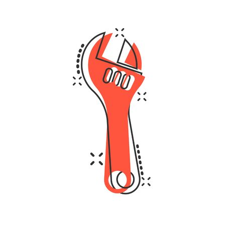 Wrench icon in comic style. Spanner key cartoon vector illustration on white isolated background. Repair equipment splash effect business concept.