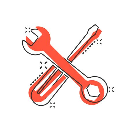Wrench and screwdriver icon in comic style. Spanner key cartoon vector illustration on white isolated background. Repair equipment splash effect business concept.