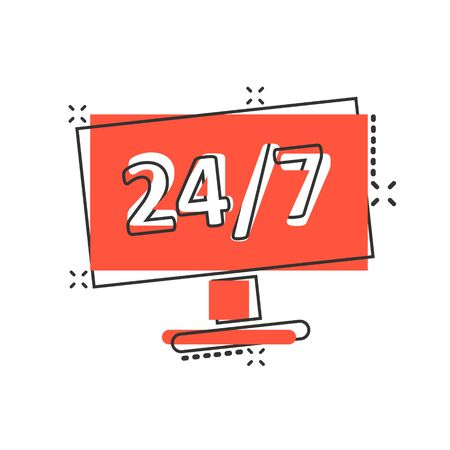 24/7 computer icon in comic style. All day service cartoon vector illustration on white isolated background. Support splash effect business concept.