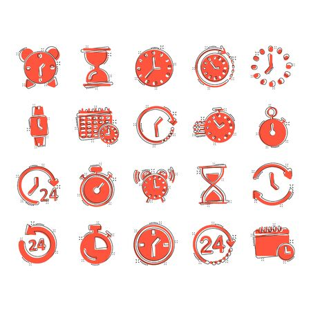 Time icon set in comic style. Agenda clock cartoon vector illustration on white isolated background. Sandglass, wristwatch timer splash effect business concept. Illustration