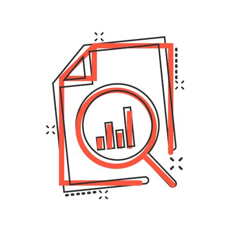 Financial statement icon in comic style. Result cartoon vector illustration on white isolated background. Report splash effect business concept. Illustration