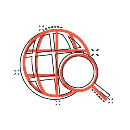 Globe search icon in comic style. Network navigation cartoon vector illustration on white isolated background. Global geography loupe splash effect business concept.