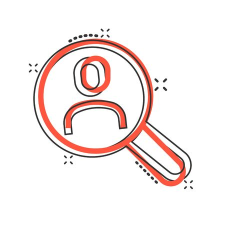 Search job vacancy icon in comic style. Loupe career cartoon vector illustration on white isolated background. Find people employer splash effect business concept.