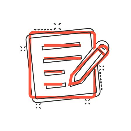 Blogging icon in comic style. Document with pen cartoon vector illustration on white isolated background. Content splash effect business concept.